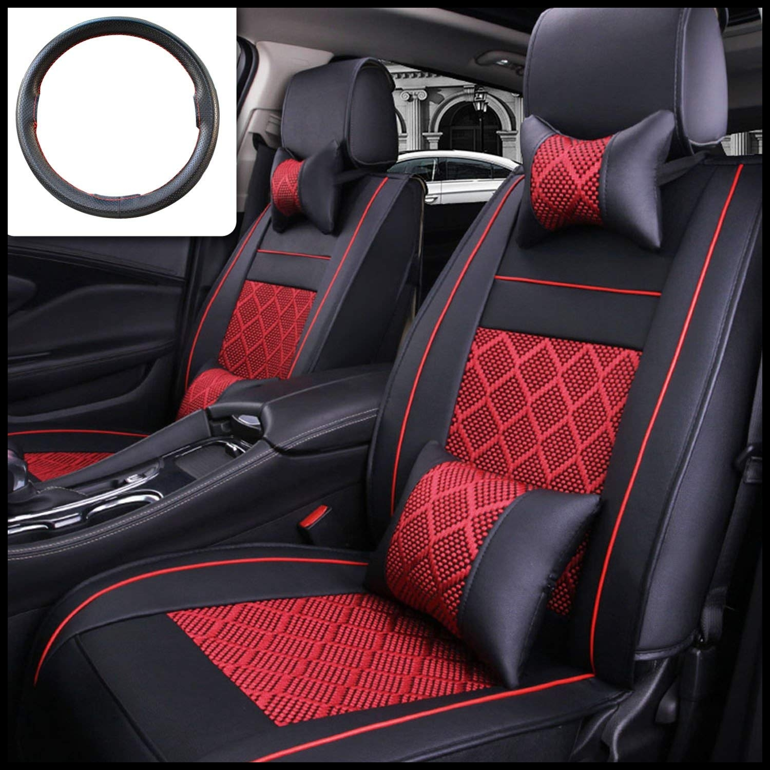 Amazon FLY5D 10Pcs PU Leather Ice Silk Auto Car Seat Covers Automotive Seat Covers for Universal 5 Seat Car Four Season Automotive