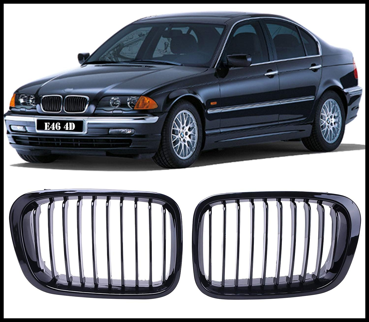 Front Grill Grille Hood Nose For E46 Sedan 4DR 1998 2001 Amazon Car & Motorbike