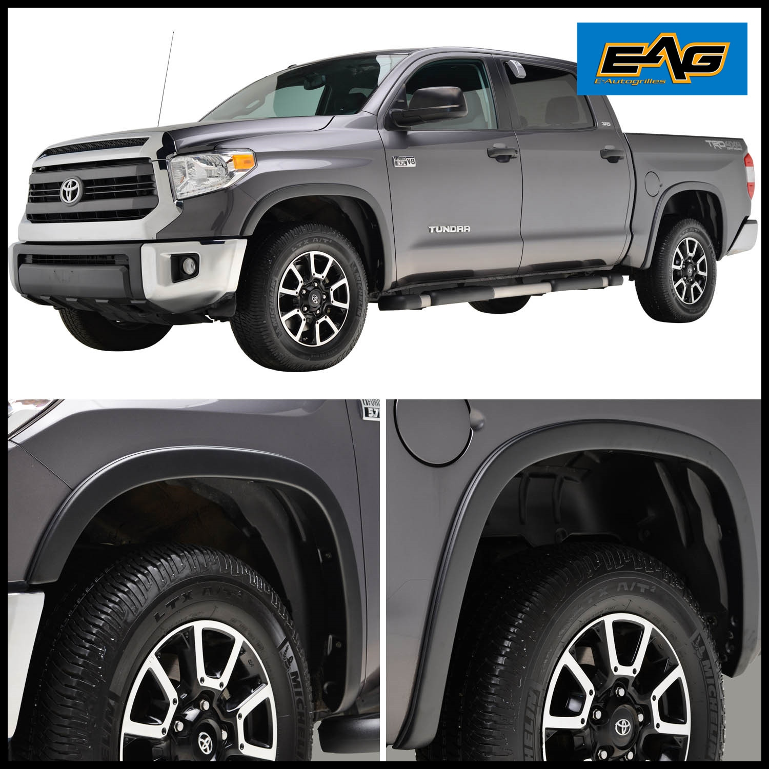EAG Textured Satin Black Styline Series 4PC Fender Flare for 14 17 Toyota Tundra