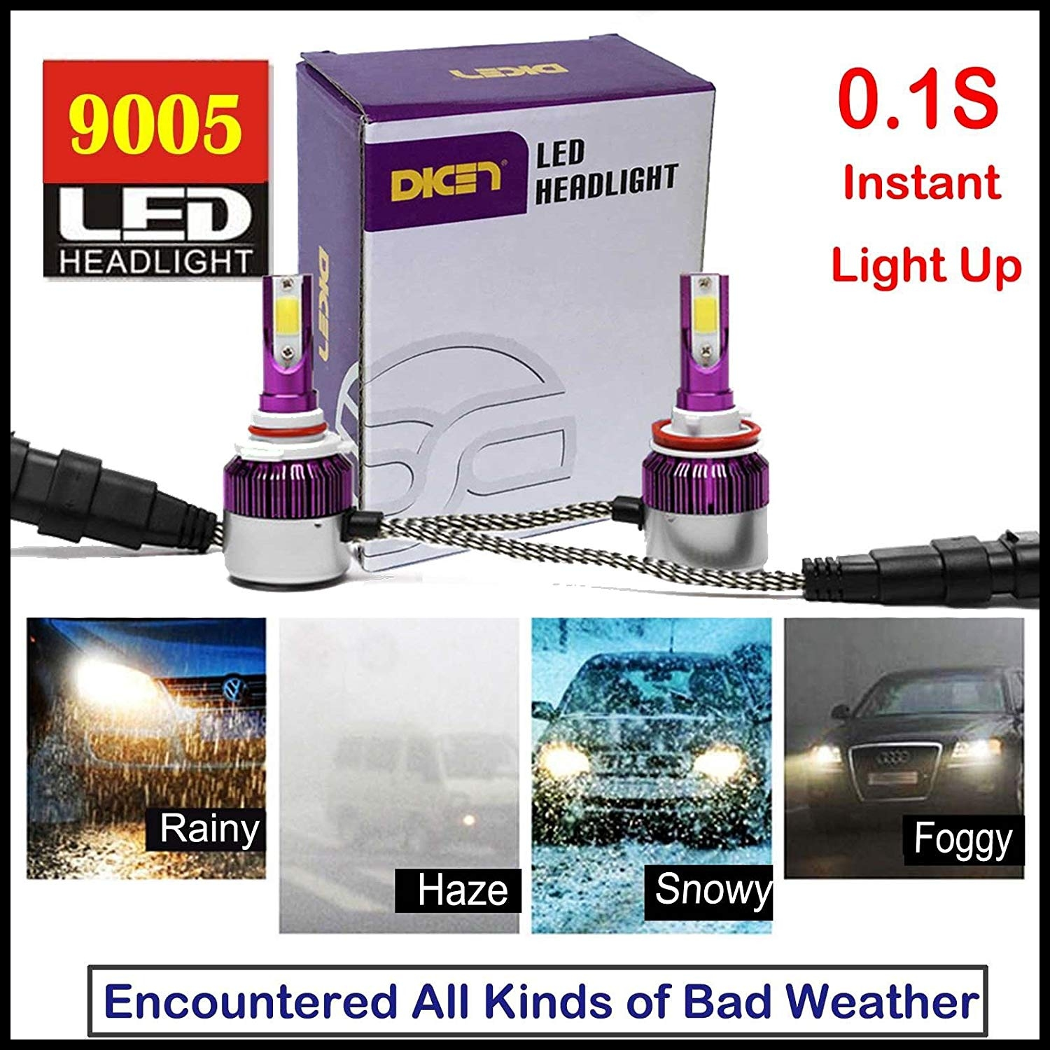 Amazon 9005 HB3 H10 LED Headlight High Beam Bulb Kit Super Bright 6000K White 7200LM Replacement Bulbs Set Plug & Play 2 Year Guarantee Automotive