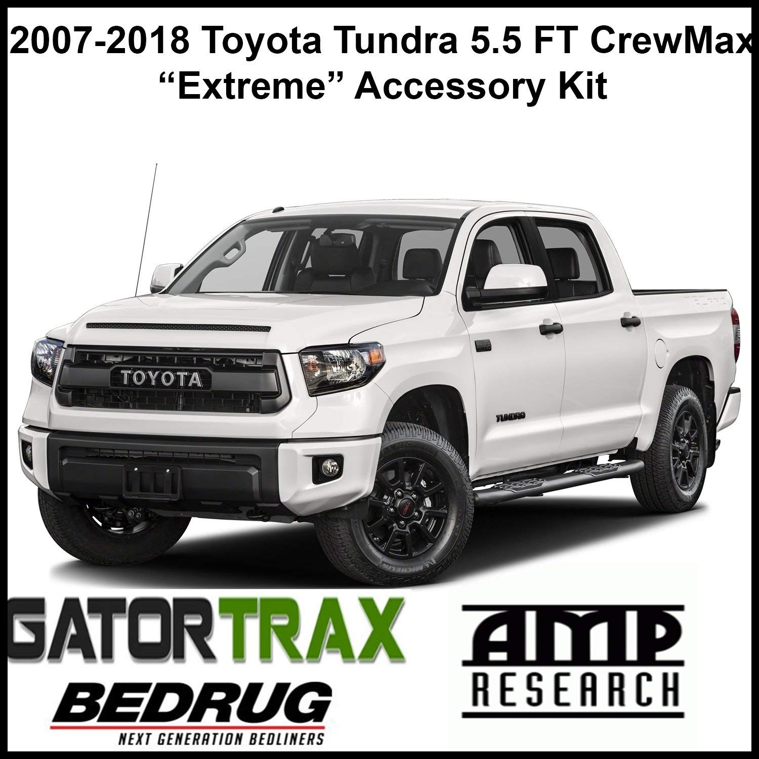 "Amazon Gator 2007 2018 Toyota Tundra 5 5 FT CrewMax Accessory""Extreme"" Kit Electric Tonneau Cover Power Running Boards Full Carpeted Bed Liner"