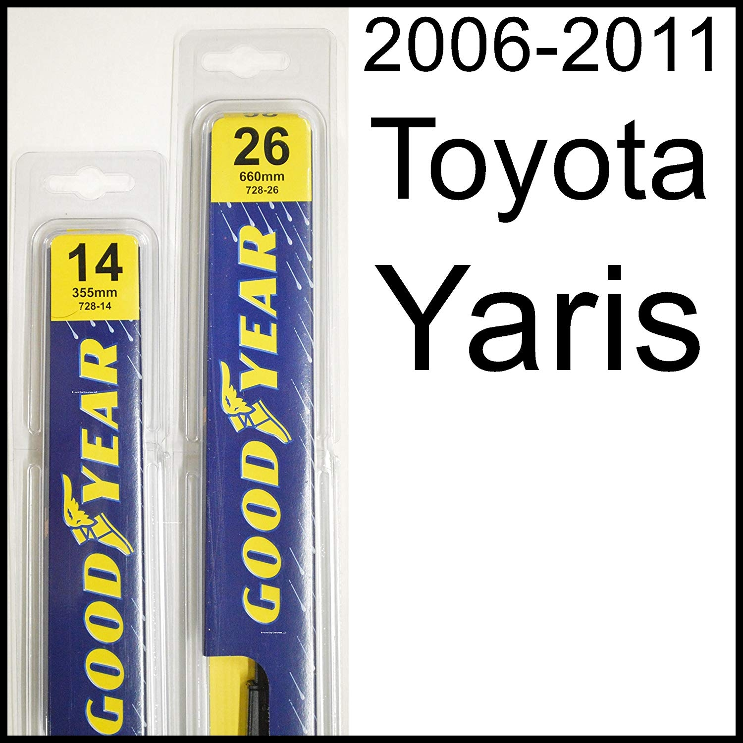 """Amazon Toyota Yaris 2006 2011 Wiper Blade Kit Set Includes 26"""" Driver Side 14"""" Passenger Side 2 Blades Total Automotive"""