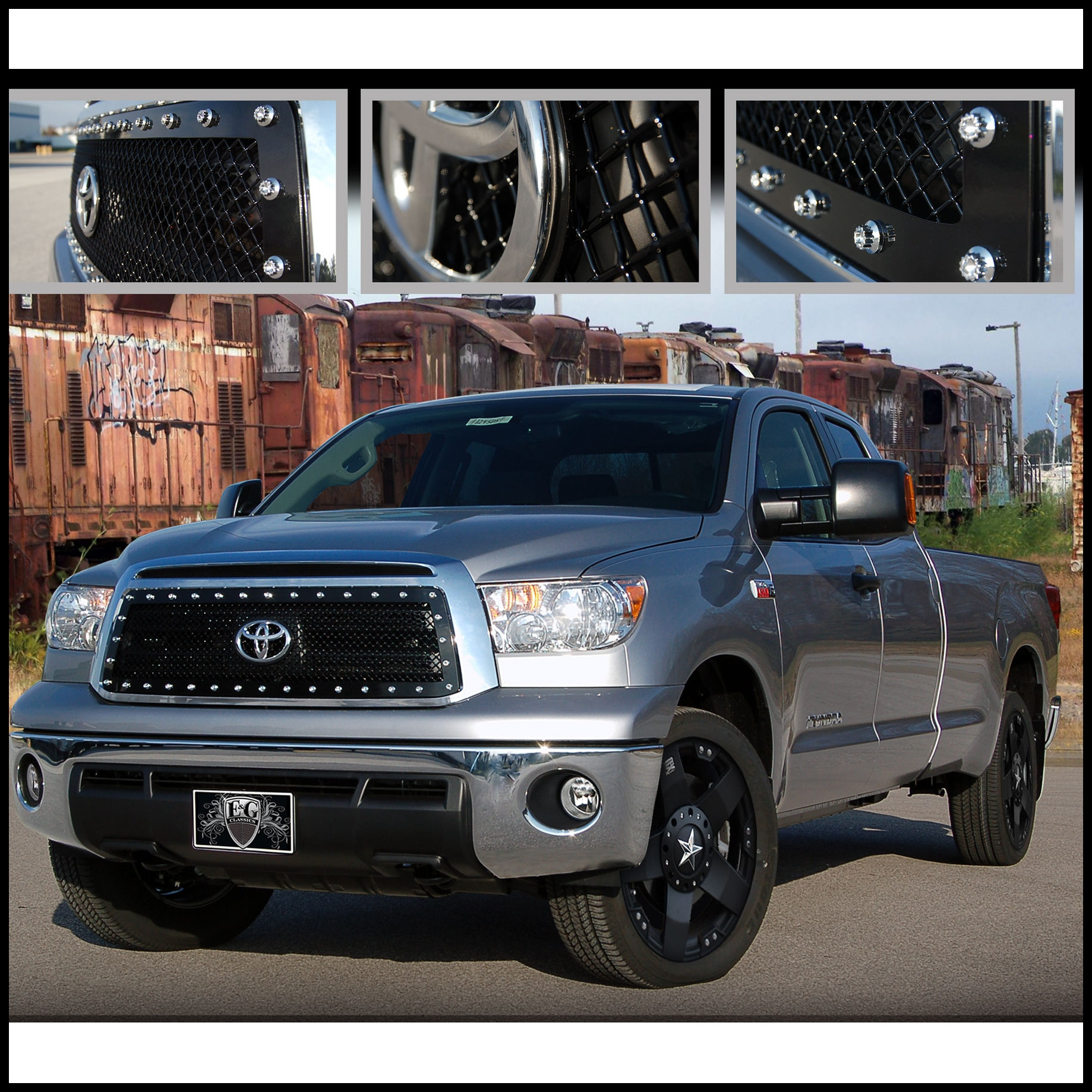 E&G Classics 2010 2013 Toyota Tundra Grille Upper E Power Heavy Mesh Grille Black Mesh 1276 0104 10EP