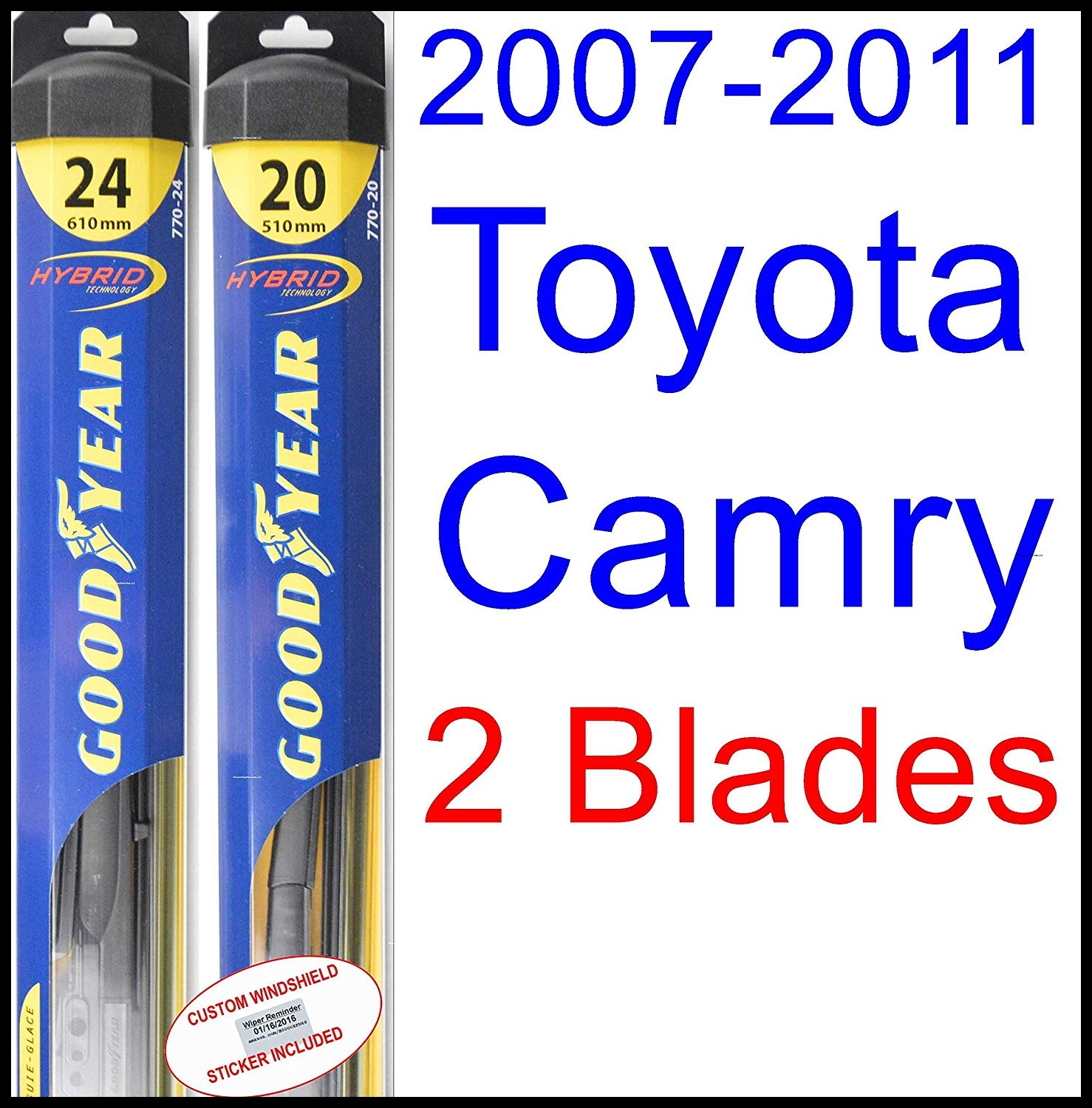 Amazon 2007 2011 Toyota Camry Replacement Wiper Blade Set Kit Set of 2 Blades Goodyear Wiper Blades Hybrid 2008 2009 2010 Automotive