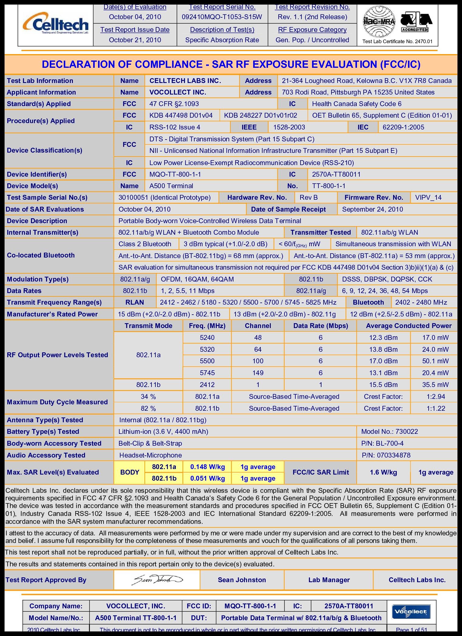 TT 800 1 1 A500 Talkman Terminal TT 800 1 1 RF Exposure Info Vocollect A500 TT 800 1 1 FCC I PDF Vocollect Inc