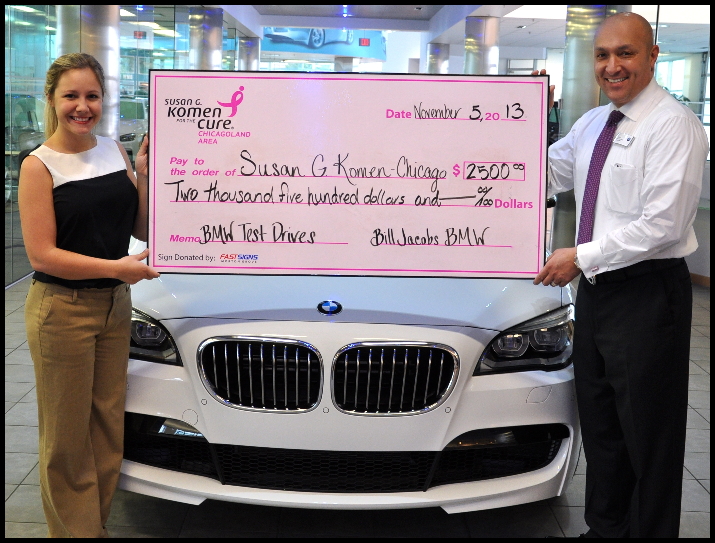 Bill Jacobs BMW Presents $2500 to Susan G Komen Chicagoland from October Breast Cancer Awareness Campaign