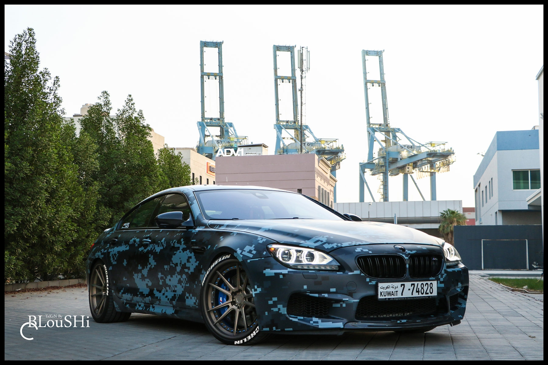 Blue Digital Camo Wrapped BMW M6 Gran Coupe With ADV 1 Wheels Wallpaper