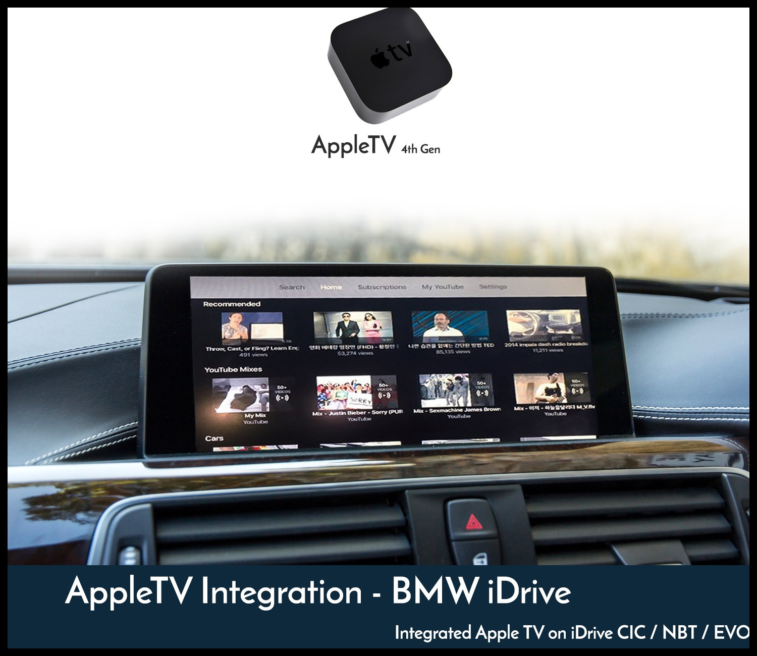 Integration of Genuine Apple TV 4th Gen features into BMW s iDrive