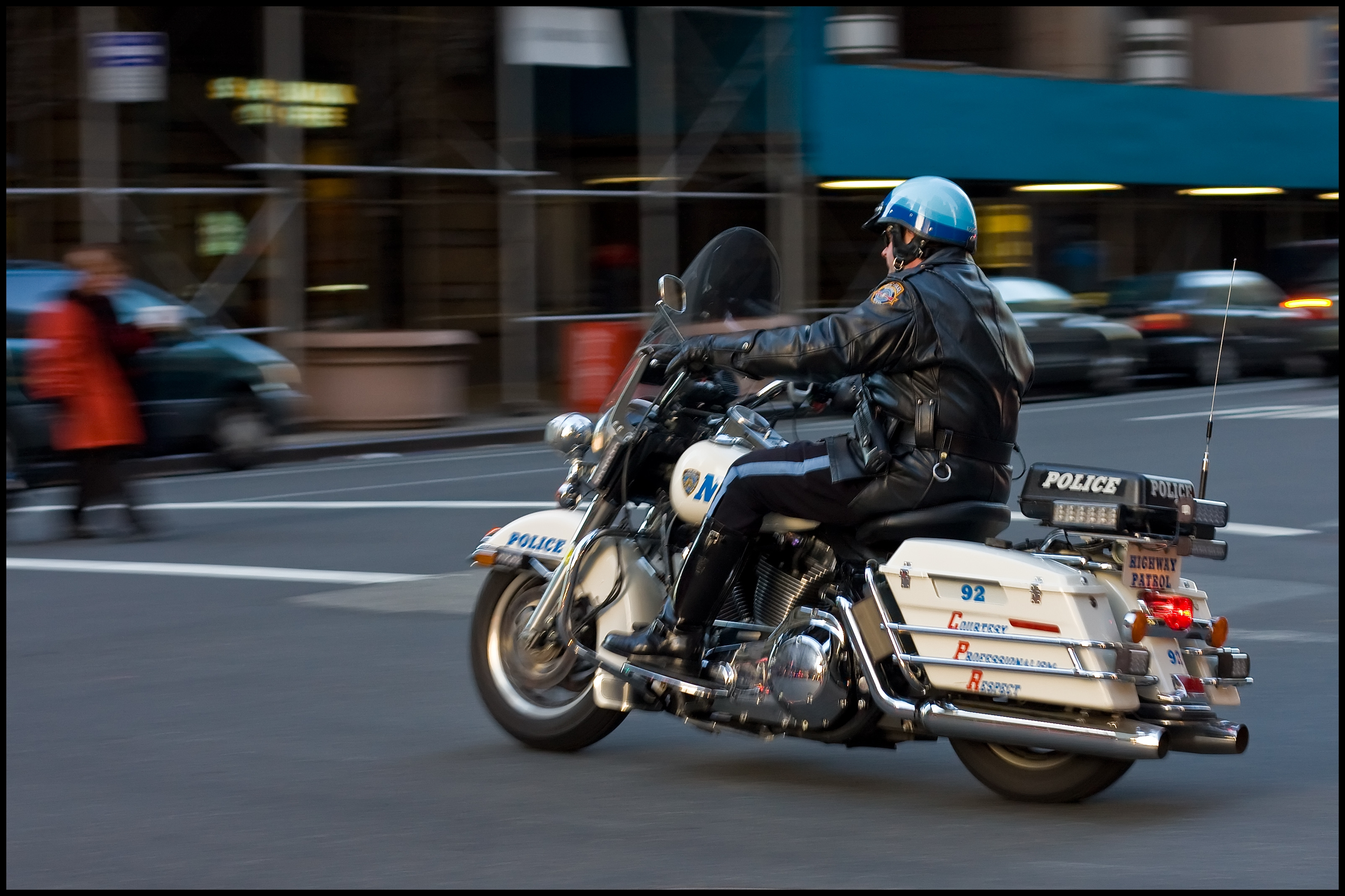 Police Motorcycle motion blur in Manhattan NYC
