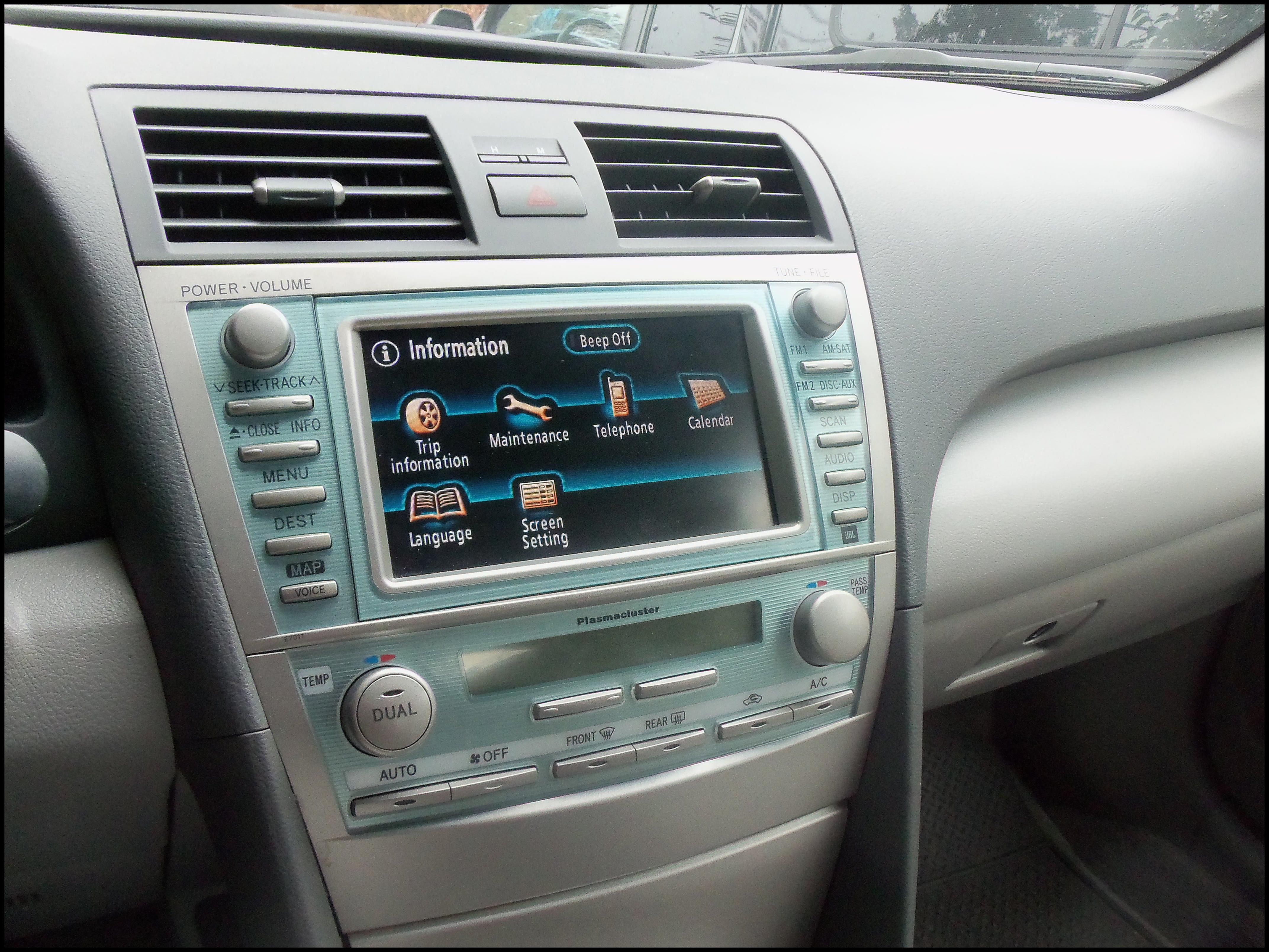Toyota Camry infotainment settings