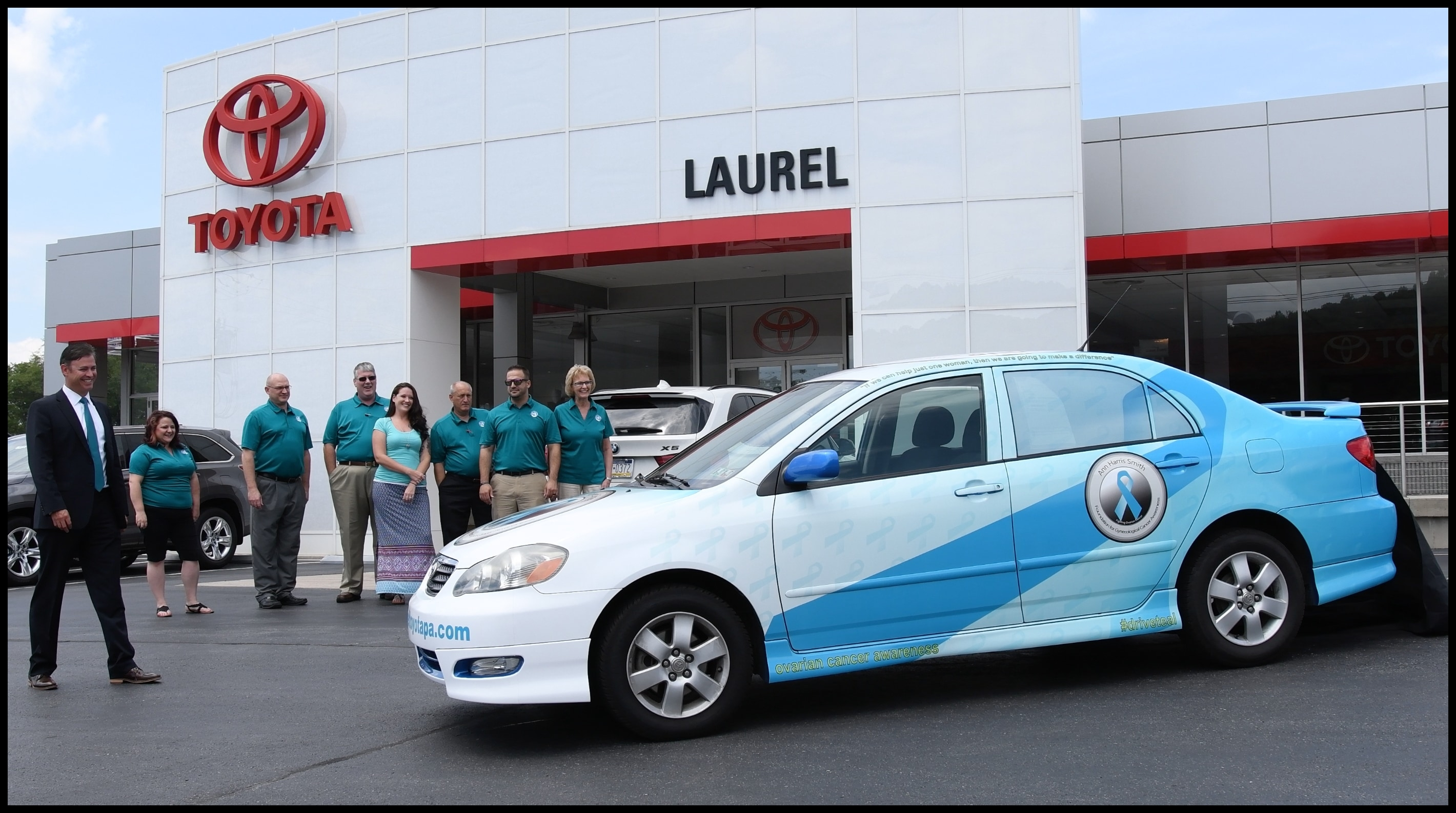 At Laurel Toyota we recently unveiled our teal Toyota Corolla to raise awareness for ovarian cancer Our vehicle will be featured at events that the Ann