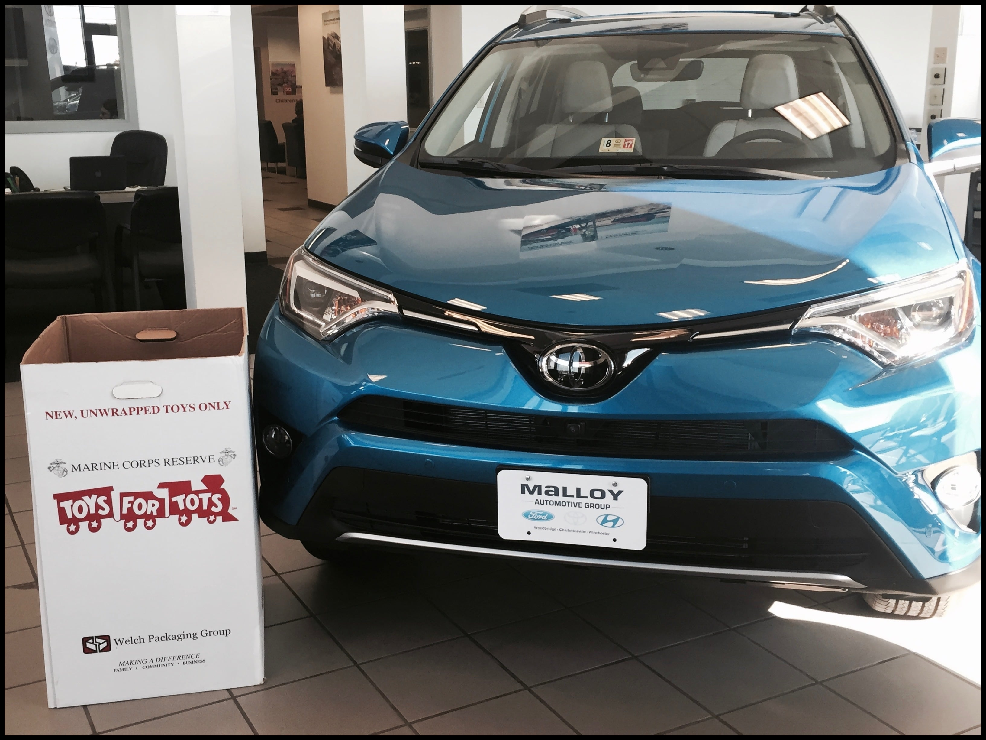 Toyota supports Toys for Tots by donating $5 000 to assist in delivering toys to deserving children To be a part of the movement please stop by Malloy