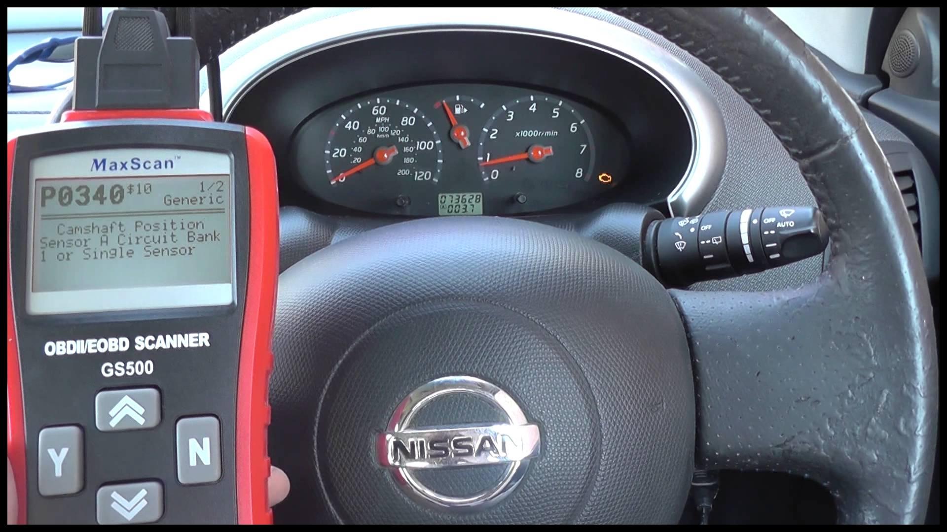 P0444 P0340 Camshaft & Purge Valve Nissan Engine Light Diagnose & Reset