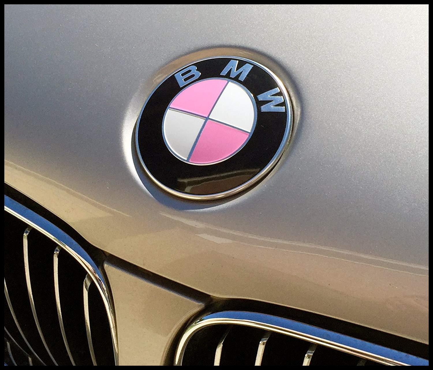 Amazon Breast Cancer Awareness Gloss pink vinyl BMW emblem and ribbon decals Fits almost all BMWs Automotive