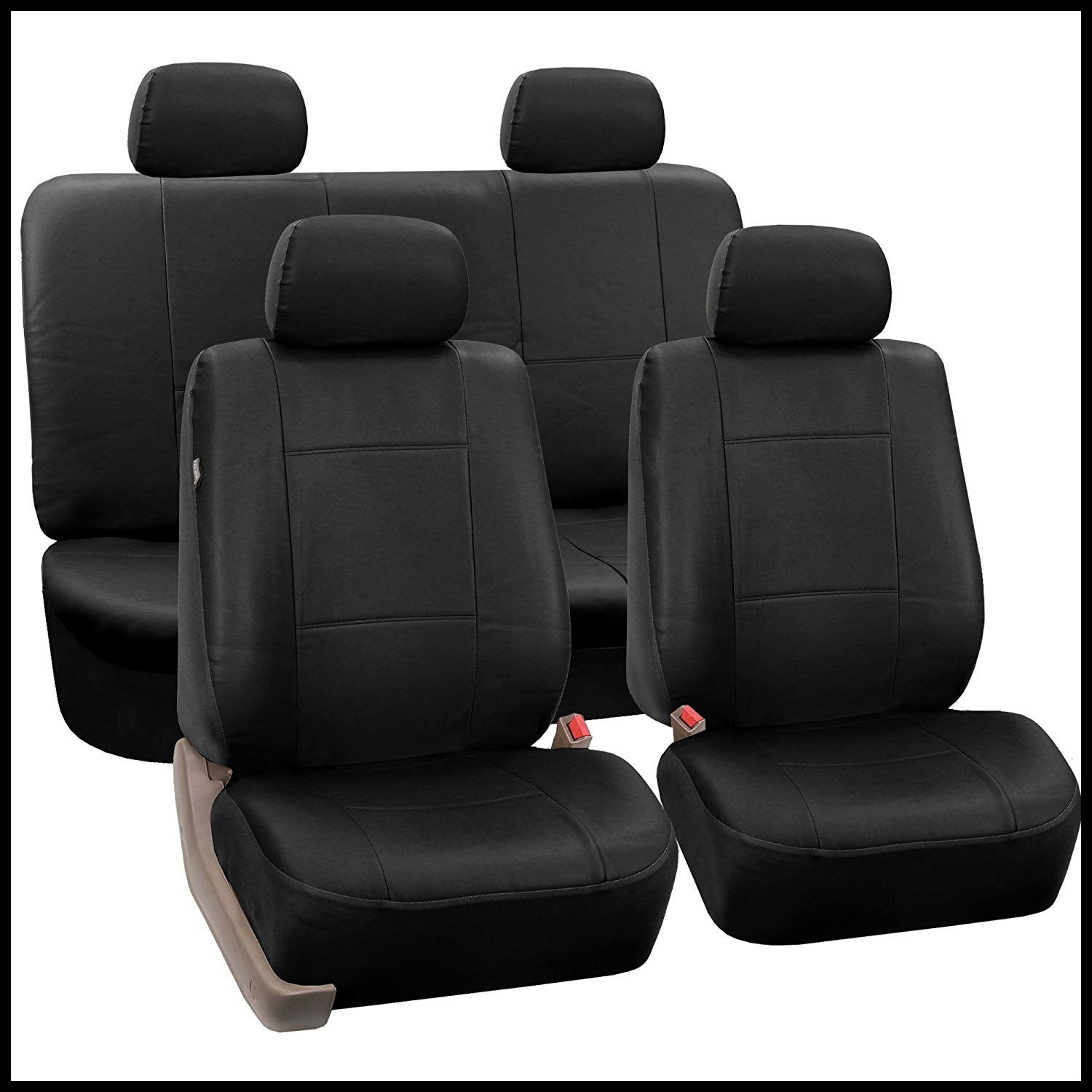Amazon FH PU001 PU Leather Car Seat Covers Solid Black Color Automotive
