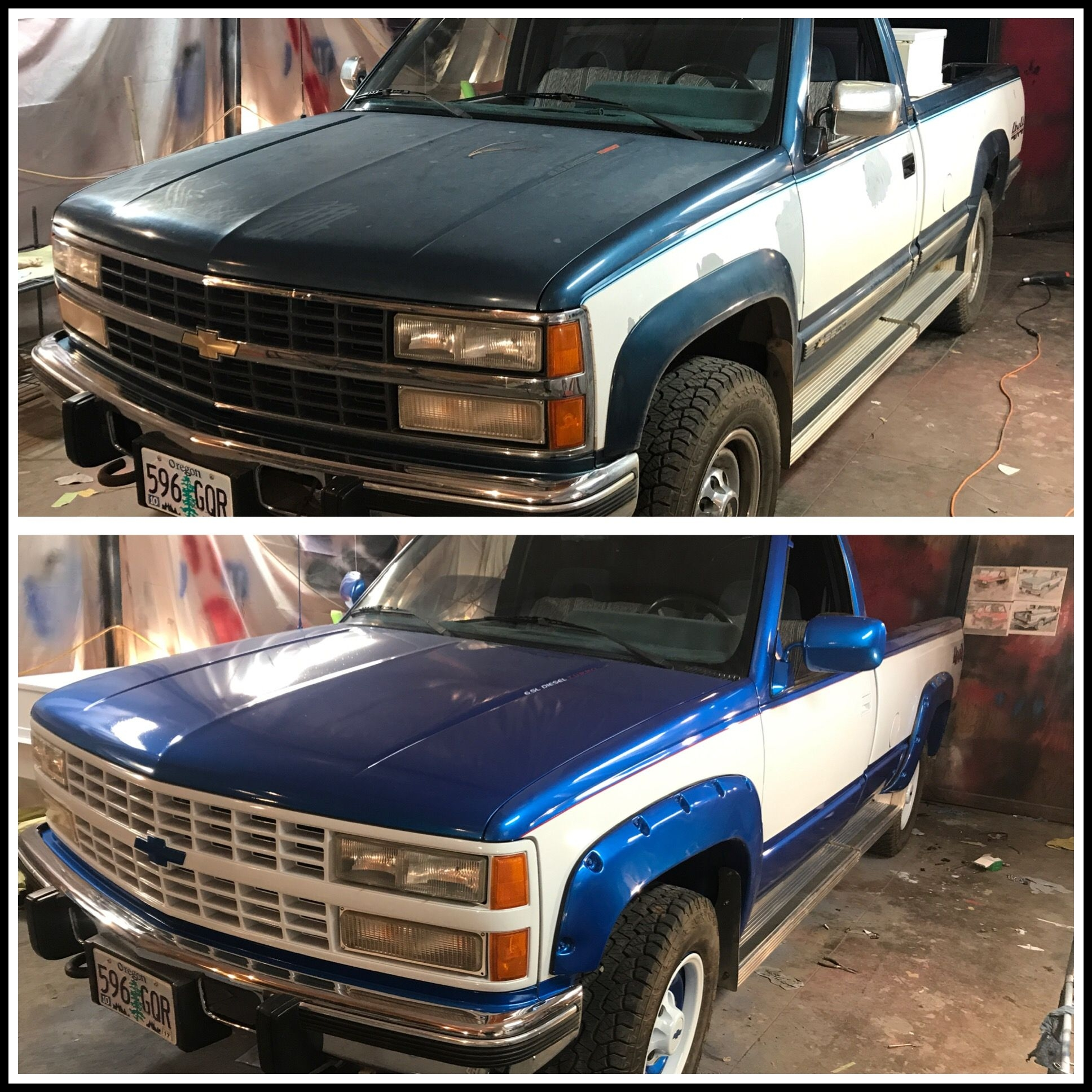 Custom paint job chevy silverado Has red pinstripe and all inlaid graphics By Jason Perry intense metallic blue with winter white