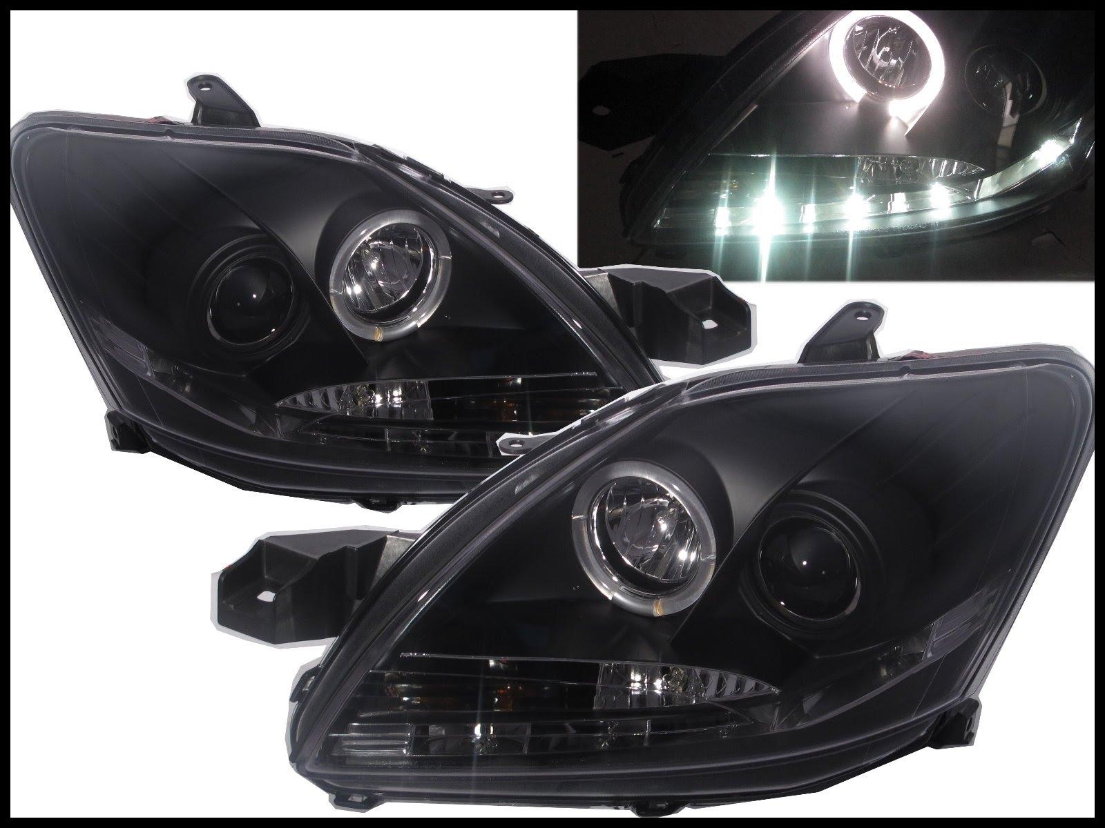 CrazyTheGod YARIS 2009 2013 Sedan Angel Eye Projector Headlight LED DRL R8Look BLACK for TOYOTA RHD