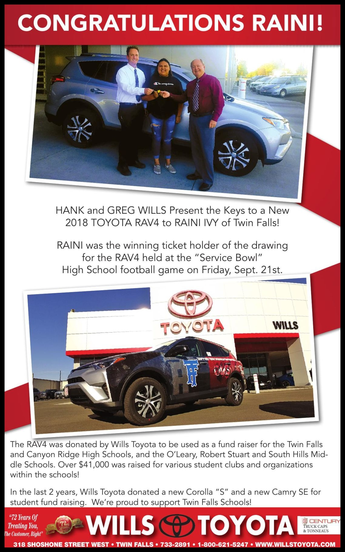 WILLS TOYOTA Ad from 2018 09 30